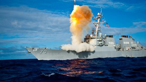 USS Hopper launches a Standard Missile