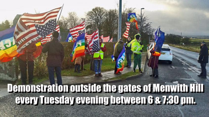 Tuesday evening demonstration at Menwith Hill
