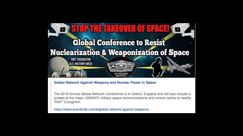 Global Conference to Resist Nuclearisation and Weaponisation of Space.